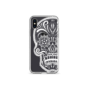 White Skull Clear iPhone Case - bycsera