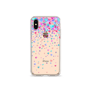 Confetti Hearts Clear iPhone Case - bycsera