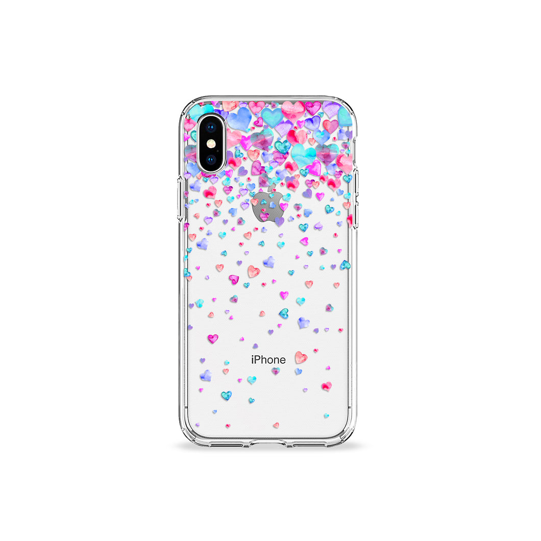 Confetti Hearts Clear iPhone Case,CSERA