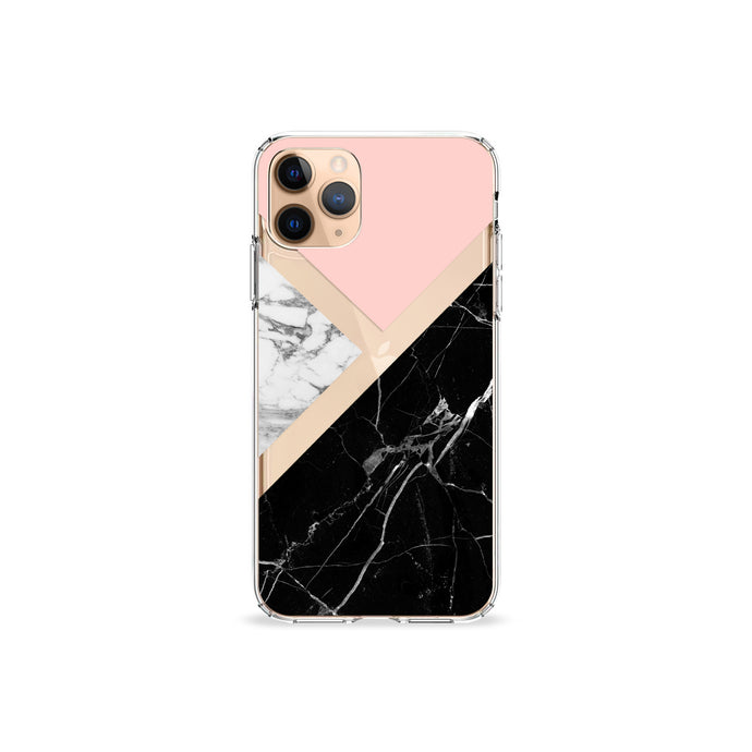 Black and Pink Marble Clear iPhone Case