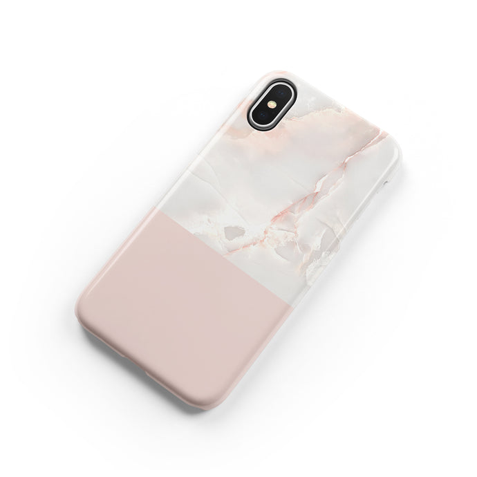 Pink Color Block Marble Snap iPhone Case,CSERA