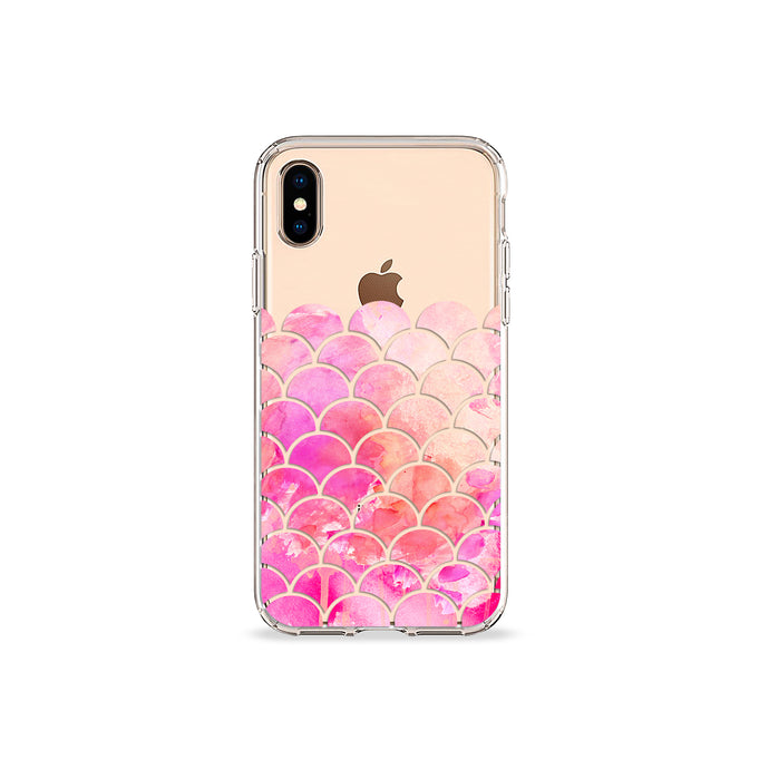 Pink Mermaid Clear iPhone Case in gold