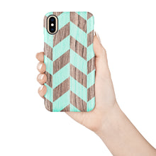 Load image into Gallery viewer, Mint Herringbone Snap iPhone Case - bycsera