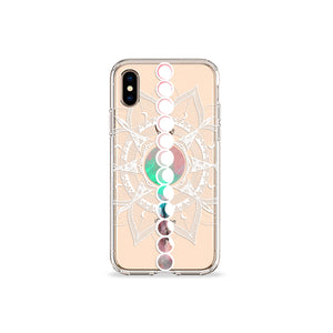 Moon Mandala Clear iPhone Case,CSERA