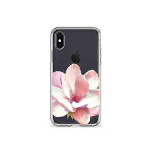 Flower Petal Clear iPhone Case in black