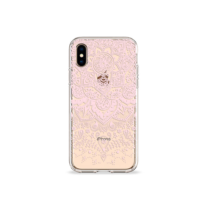 Pressed Rose Henna Clear iPhone Case in gold