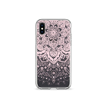 Load image into Gallery viewer, Pressed Rose Henna Clear iPhone Case in black