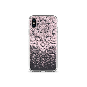 Pressed Rose Henna Clear iPhone Case in black