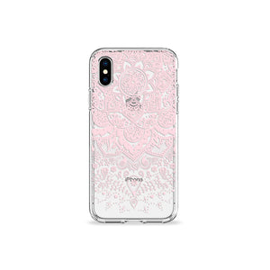 Pressed Rose Henna Clear iPhone Case in silver