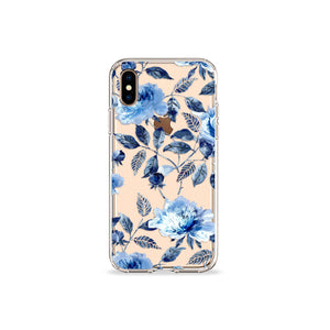 Vintage Blue Floral Clear iPhone Case