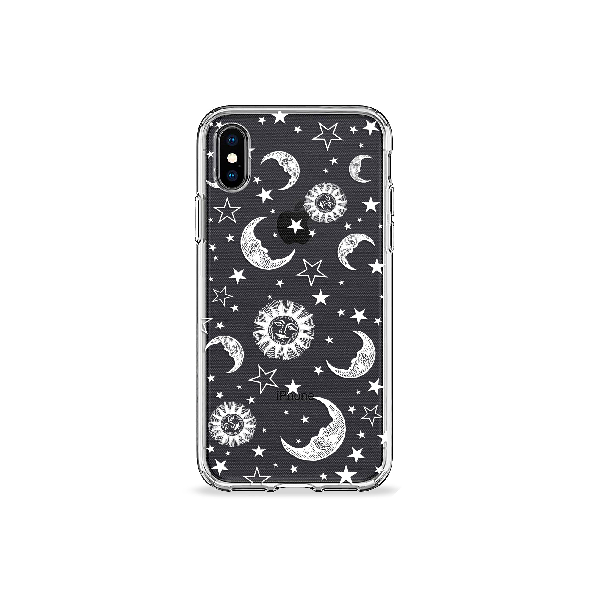 new style c5d72 3ed8a Sun Moon and Stars Clear iPhone Case