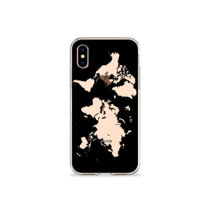 World Map in Black Clear iPhone Case,CSERA