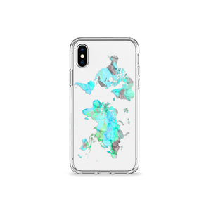 Mint World Map Clear iPhone Case in Silver