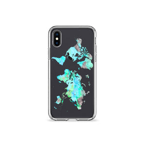 Mint World Map Clear iPhone Case in Black