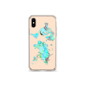Mint World Map Clear iPhone Case in Gold