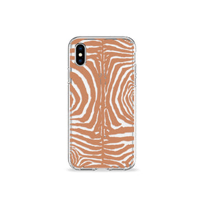 Zebra Print Tan Clear iPhone Case - bycsera