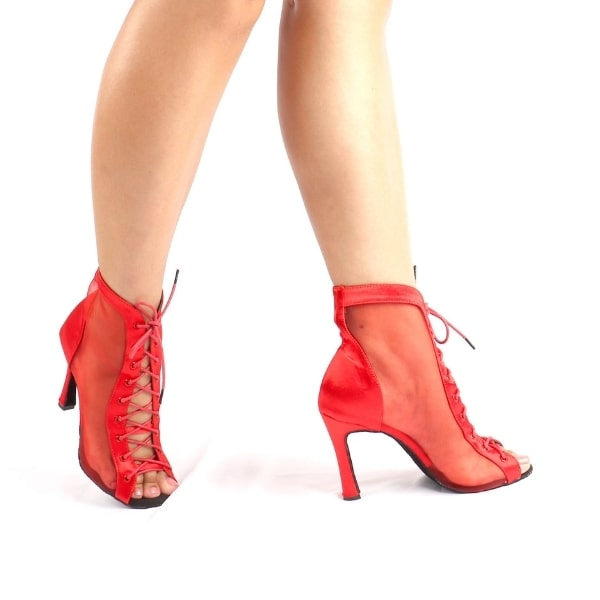 Bottines de danse latine Sicilia : rouge