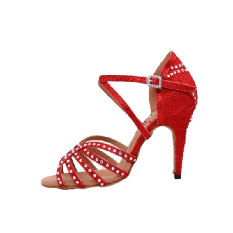 Chaussures Danse Latine Barcelona : Rouge & Strass