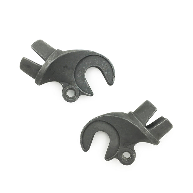 Front dropouts - 20mm plug style - offset with one eyelet. Pair