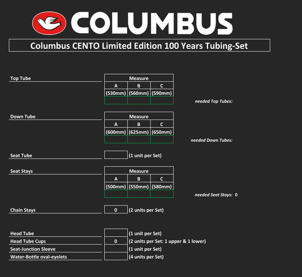 Columbus CENTO tube sets - 3 sizes available