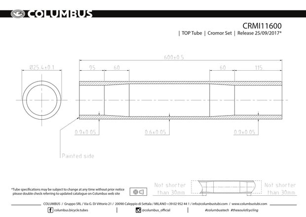 CRMI11600  Columbus Tubing Cromor top tube - 25.4 diameter - .9/.6/.9 wall thickness. Length = 600