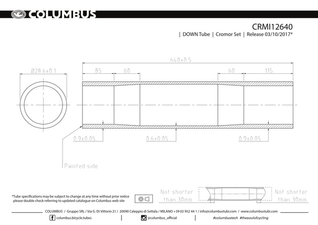 CRMI12640  Columbus Tubing Cromor down tube - 28.6 diameter - .9/.6/.9 wall thickness. Length = 640