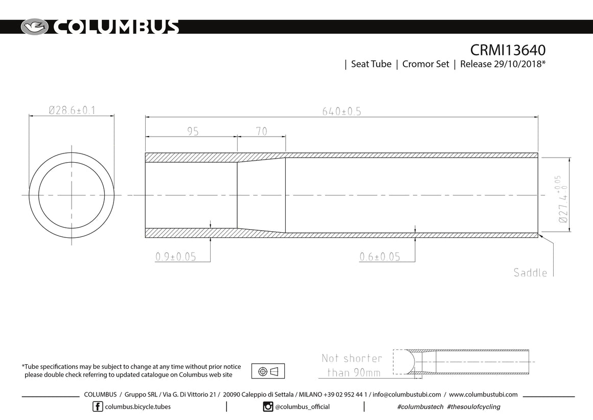 CRMI13640  Columbus Tubing Cromor single butted seat tube - 28.6 dia. - .9/.6 - length = 640