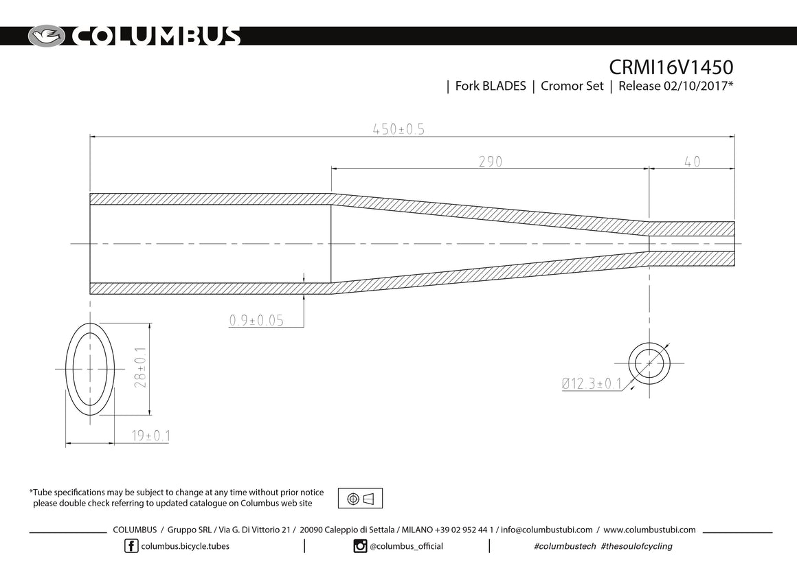 CRMI16V1450  Columbus Tubing Cromor Rando fork blades, steel - .9 wall - length = 450  Fork blade 24 OD is pressed into 28x19 oval.