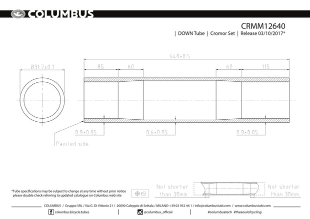 CRMM12640  Columbus Tubing Cromor down tube - 31.7 diameter - .9/.6/.9 wall thickness. Length = 640