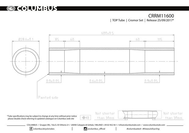 CRRM11600  Columbus Tubing Cromor top tube - 28.6 diameter - .9/.6/.9 wall thickness. Length = 600