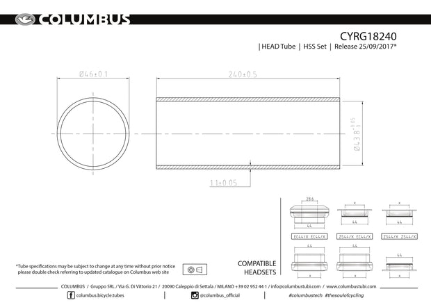 CYRG18240  Columbus Tubing HSS headtube for - 46 dia. - 1.1mm wall - length = 240