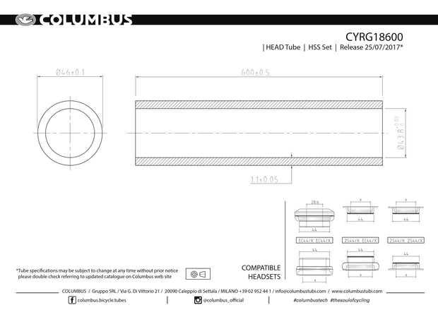 CYRG18600  Columbus Tubing HSS headtube - 46 dia. - 1.1mm wall - length = 600