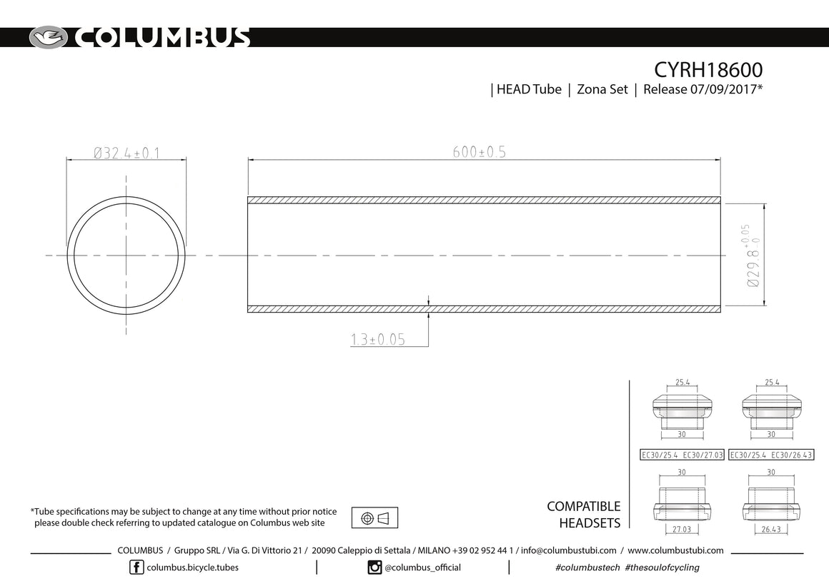 CYRH18600  Columbus Tubing Cromor headtube - 32.4 dia. - 1.3mm wall - length = 600