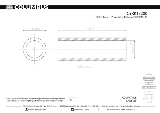 CYRK18200 - Columbus Tubing Zona headtube - 36 dia. - 1.1mm wall - length = 200