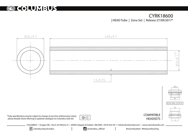 CYRK18600 - Columbus Tubing Zona headtube - 36 dia. - 1.1mm wall - length = 600