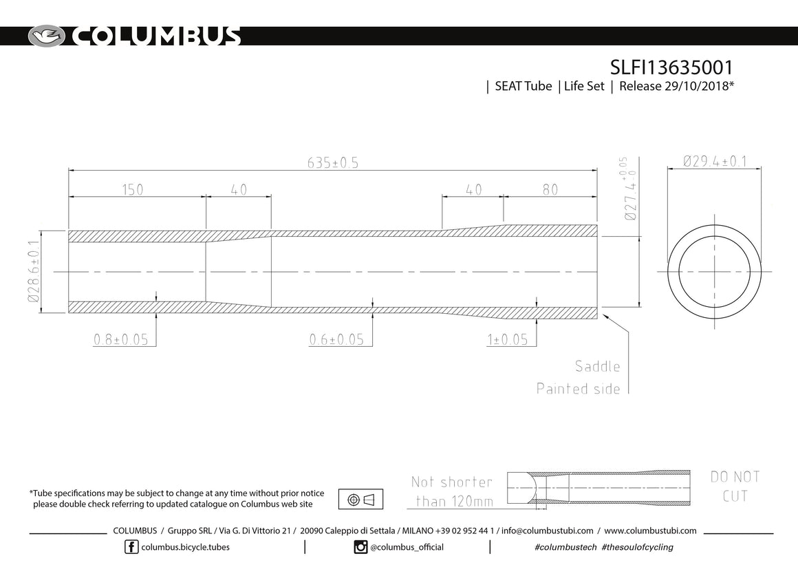 SLFI13635001 - Columbus Tubing Life externally butted seat tube - 28.6 dia. - .8/.6/1 wall thickness. Length = 635