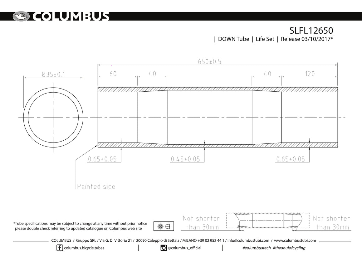 SLFL12650  Columbus Tubing Life down tube - 35 diameter - .65/.45/.65 wall thickness. Length = 650