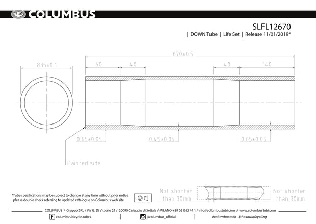 SLFL12670  Columbus Tubing Life down tube - 35 diameter - .65/.45/.65 wall thickness. Length = 670
