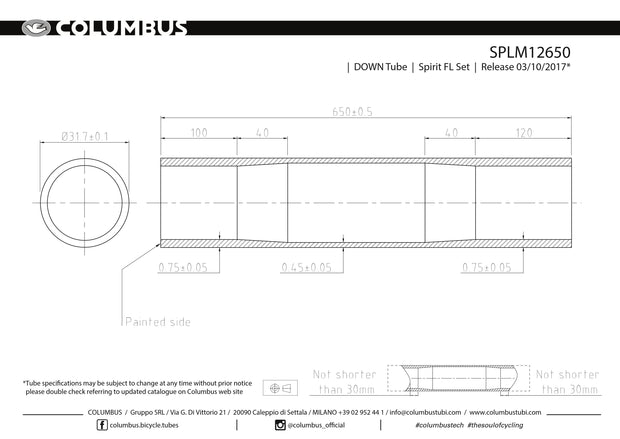 SPLM12650 - Columbus Tubing Spirit for Lugs down tube - 31.7 diameter - .75/.45/.75 wall thickness. Length = 650