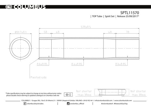SPTL11570  Columbus Tubing Spirit top tube - 31.7 diameter - .6/.4/.6 wall thickness. Length = 570