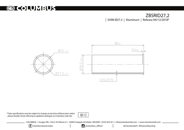 ZBSRID27.2 - Columbus' slotted aluminum reduction sleeve for reducing the inner diameter (30.2) of a 31.7 seat tube to 27.2