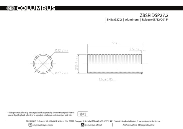 ZBSRIDSP27.2 - Columbus' aluminum reduction sleeve for reducing the inner diameter (30.2) of a 31.7 seat tube to 27.2.