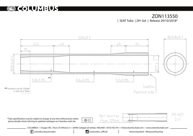 ZON113550  Columbus Tubing Zona 29er externally butted seat tube - 28.6 dia. - .8/.6/1.2 wall thickness. Length = 550