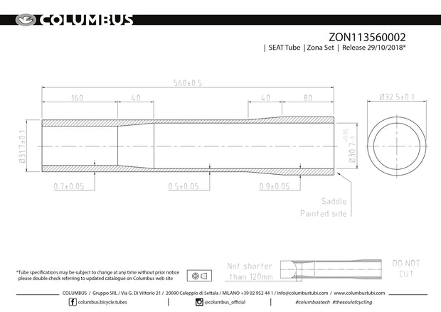 ZON113560002 - Columbus Tubing Zona externally butted seat tube - 31.7 dia. - .7/.5/.9 wall thickness. Length = 560
