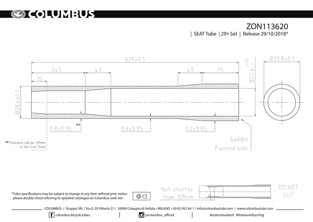 ZON113620 - Columbus Tubing Zona externally butted seat tube for steel bicycle frames - 28.6 dia. - .8/.6/1.2 wall thickness. Length = 620