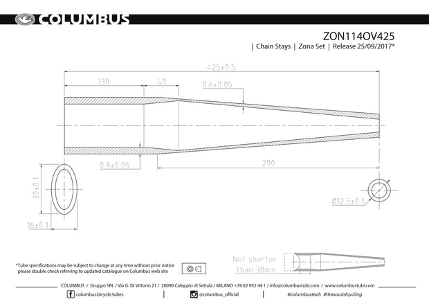 ZON114OV425  Columbus Tubing Zona butted chainstays - oval/round - 24 OD - .8/.6 wall - length = 425, oval=16x30