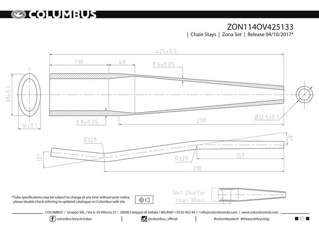 ZON114OV425133  Columbus Tubing Zona butted chainstays - oval/round - 24 OD - .8/.6 wall - length = 425, 16x30 oval at the BB end and a mtb S-bend.