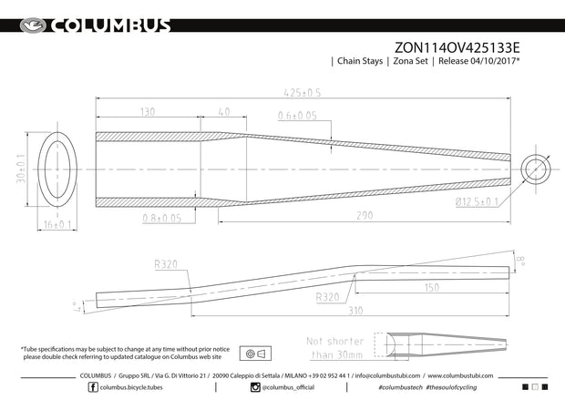 ZON114OV425133E  Columbus Tubing Zona butted chainstays - oval/round - 24 OD - .8/.6 wall - length = 425, 16x30 oval at the BB end and a road S-bend