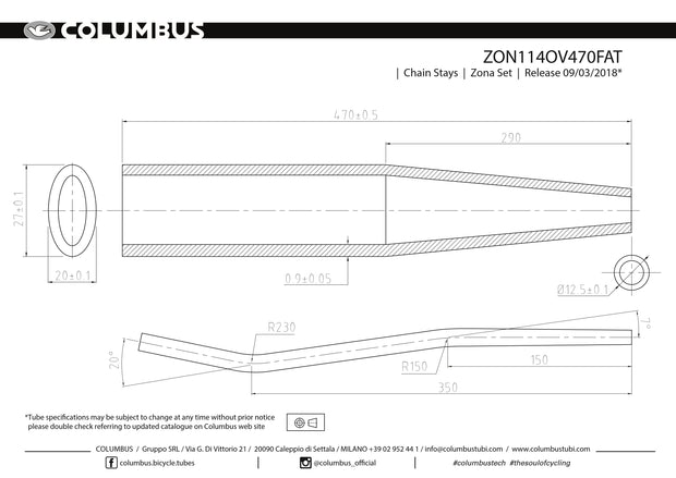 ZON114OV470FAT - Columbus Tubing Zona fatbike chainstays - oval/round - 24 OD - .9 wall - length = 470