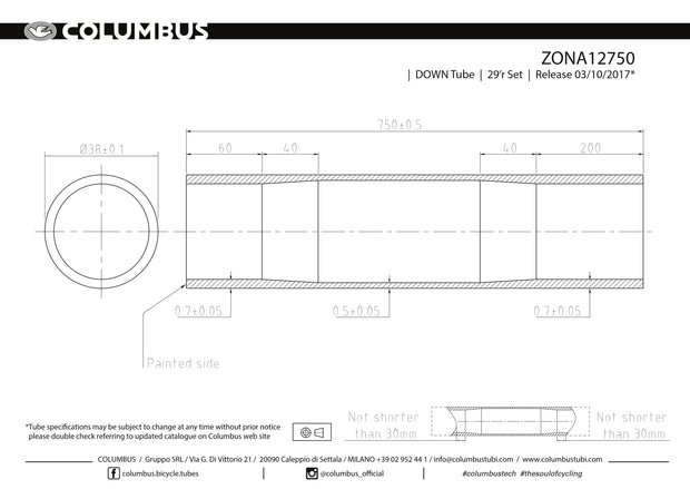 ZONA12750 - Columbus Tubing Zona down tube - 38 diameter - .7/.5/.7 wall thickness. Length = 750